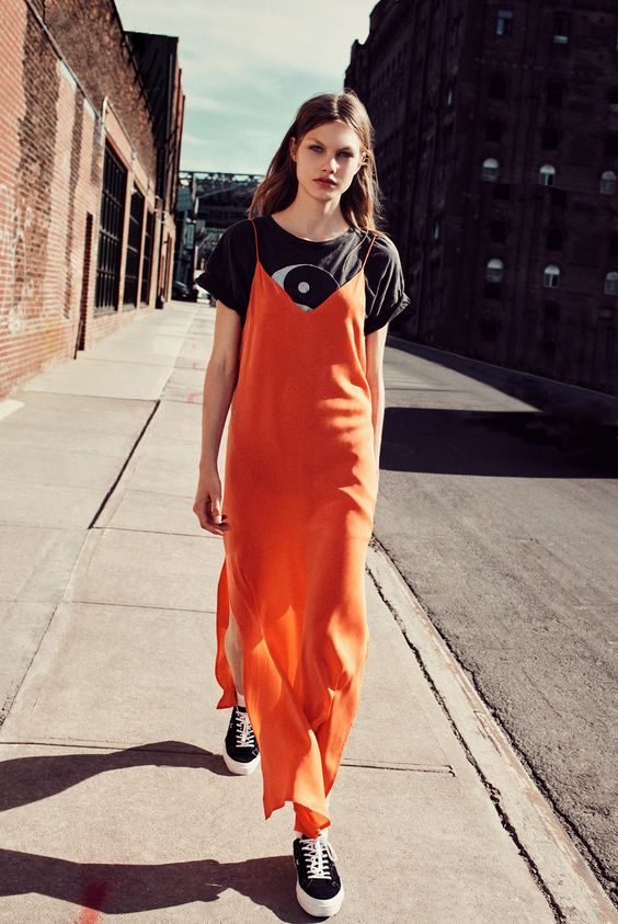 Layer a slip dress with a graphic tee | Girlfriend is Better