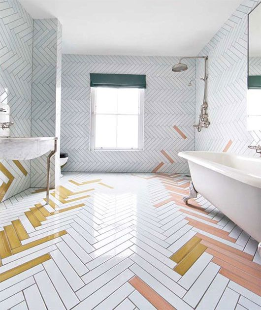 Mismatched herringbone tiles in bathroom | Girlfriend is Better
