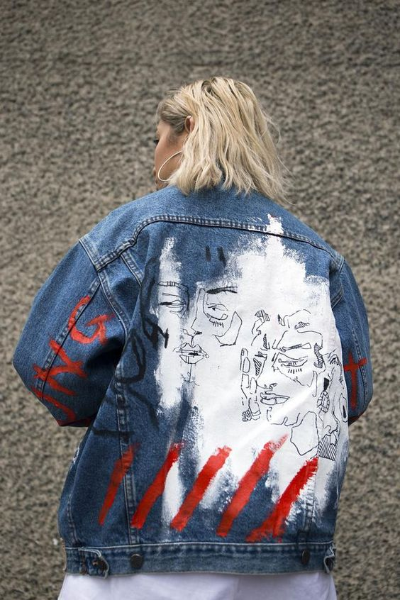 Hand-painted denim jacket by @yukihaze | Embellished jackets | Girlfriend is Better