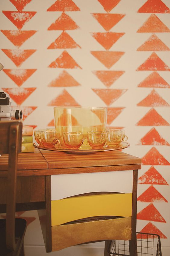 Mid-century modern decor in orange + yellow | Fame + Recognition Feng Shui | Girlfriend is Better