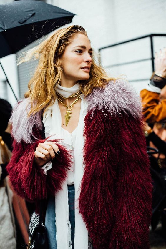 Multicolored fur coat in jewel tones | Girlfriend is Better