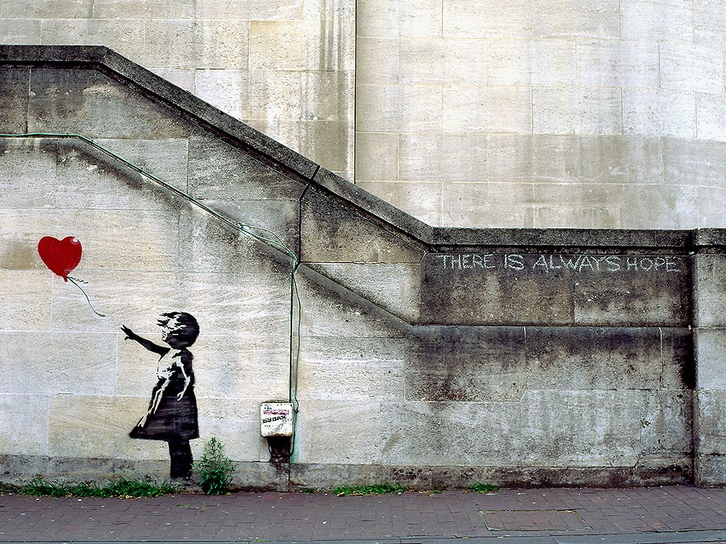 There is Always Hope graffiti by Banksy | Love language gift guide | Girlfriend is Better