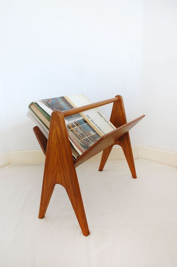 vintage danish modern teak magazine racks | Girlfriend is Better