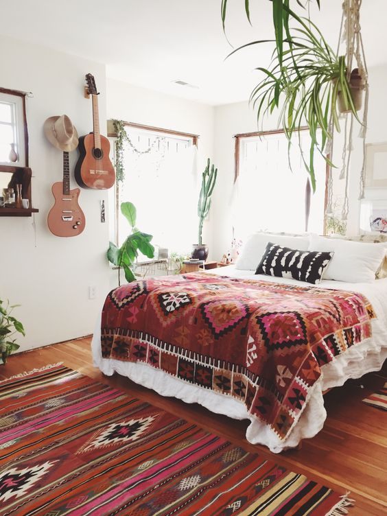 Mexican blankets Bohemian bedding