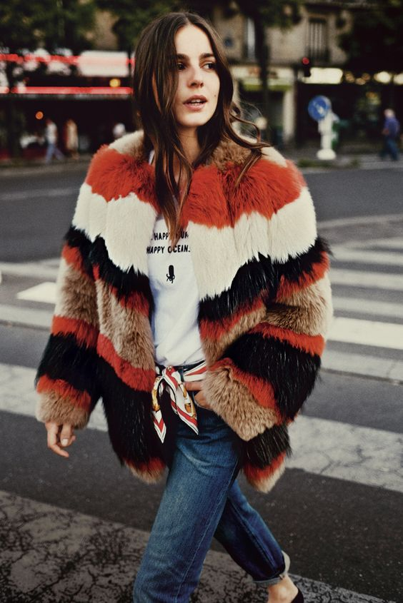 Multicolored fur coat | Girlfriend is Better