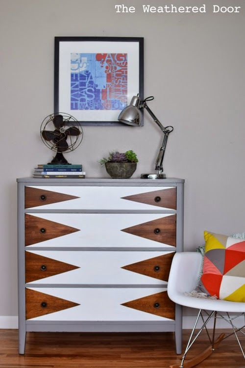 Mod Triangle Dresser Makeover | Painted furniture ideas | Girlfriend is Better