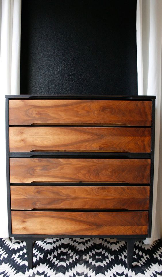 Mid century modern tallboy chest stained two-tone | Painted furniture DIY ideas | Girlfriend is Better