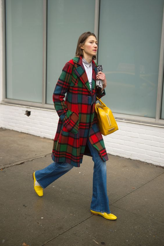 Red, green + blue plaid coat | Girlfriend is Better