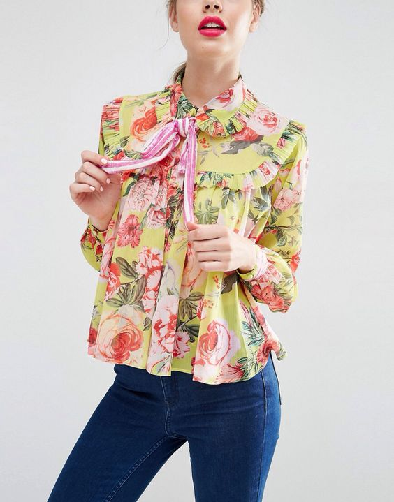 Pussy bow blouses in feminine florals | Girlfriend is Better