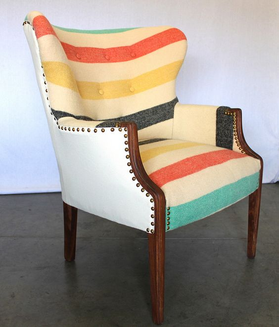 Beautiful Reupholstering Furniture | Vintage Wing Back Chair Tufted Pendleton Hudsons  Bay Blanket | Girlfriend Is Better
