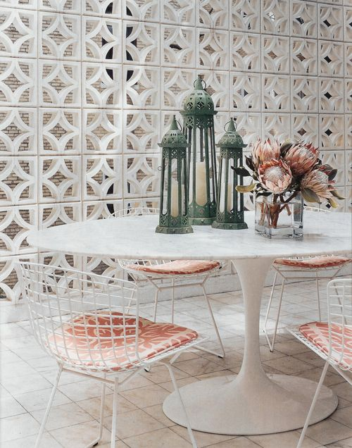 Mid-century modern room dividers | Bertoia Side Chairs in private area | Girlfriend is Better