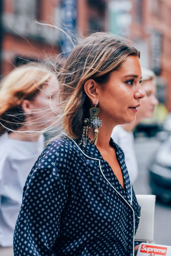 Statement earrings jazz up jammies | NY Fashion Week | Girlfriend is Better