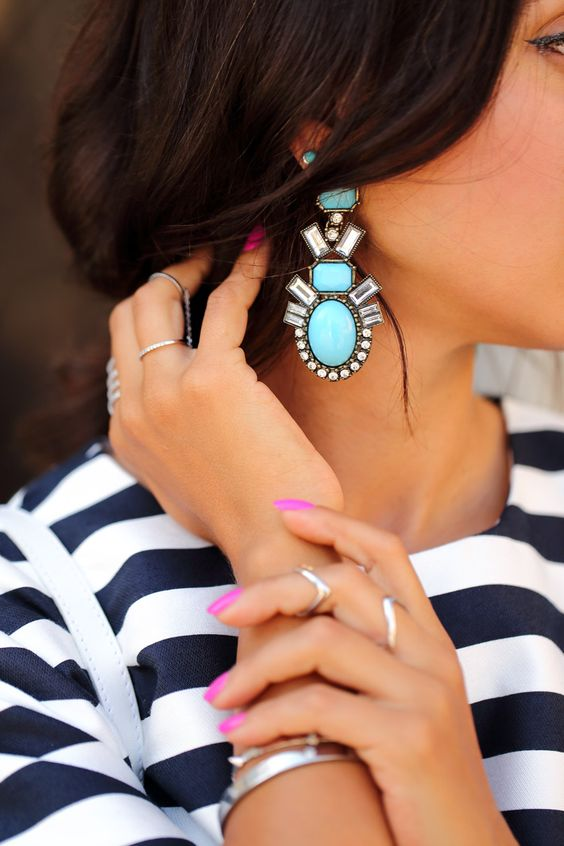BaubleBar Turquoise Drop Statement Earrings | Girlfriend is Better
