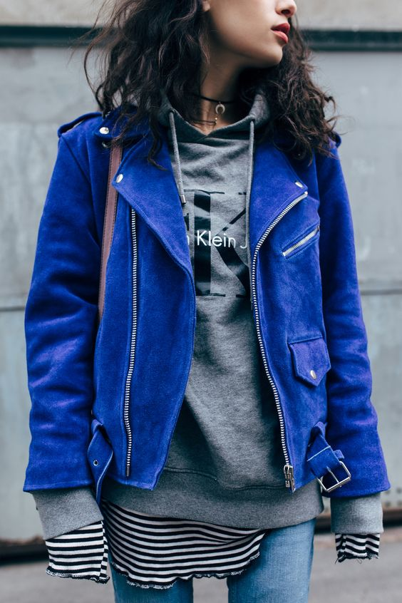 Bright blue suede jacket | Girlfriend is Better