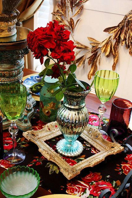 Glassware in jewel tones | Bohemian eclectic table settings | Girlfriend is Better