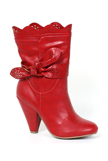 Bettie Page Red Leatherette L'Amour High Heel Ankle Boot | Unique Vintage