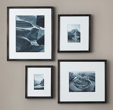 ANTIQUED NAILHEAD NARROW GALLERY FRAMES - BLACK ZINC | Restoration Hardware