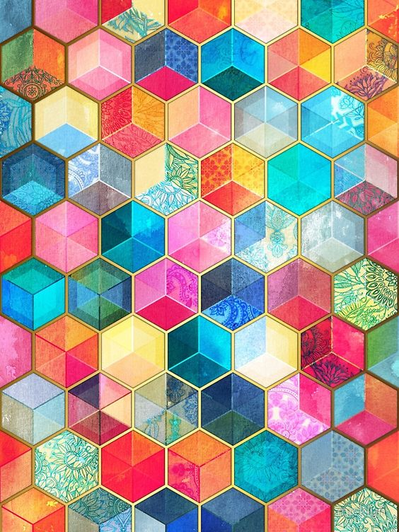 Crystal Bohemian Honeycomb Cubes graphic by Micklyn | Hexagon home decor | Girlfriend is Better