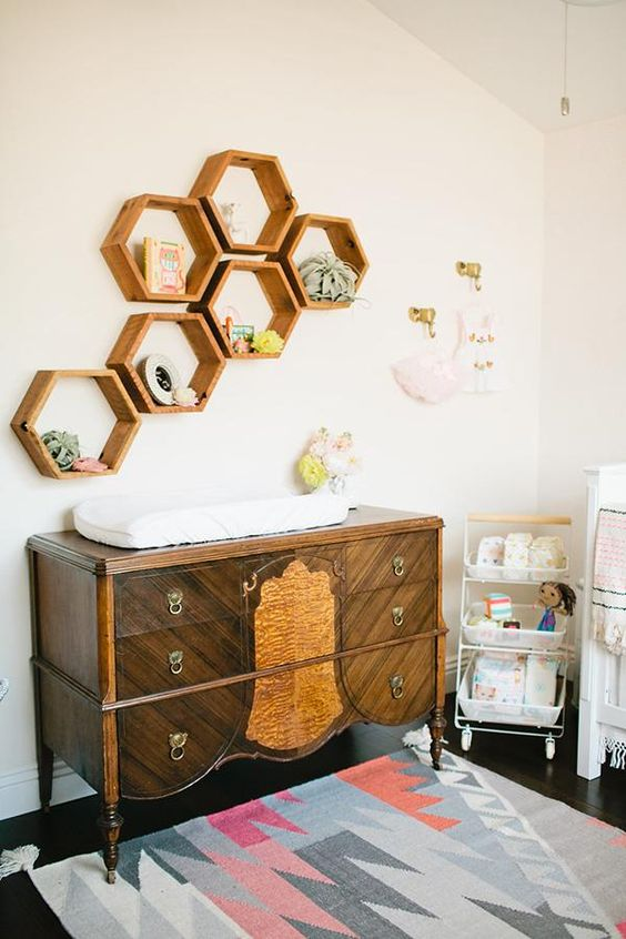 Hexagons for shelving in the nursery | decor by Isla Jean | Girlfriend is Better