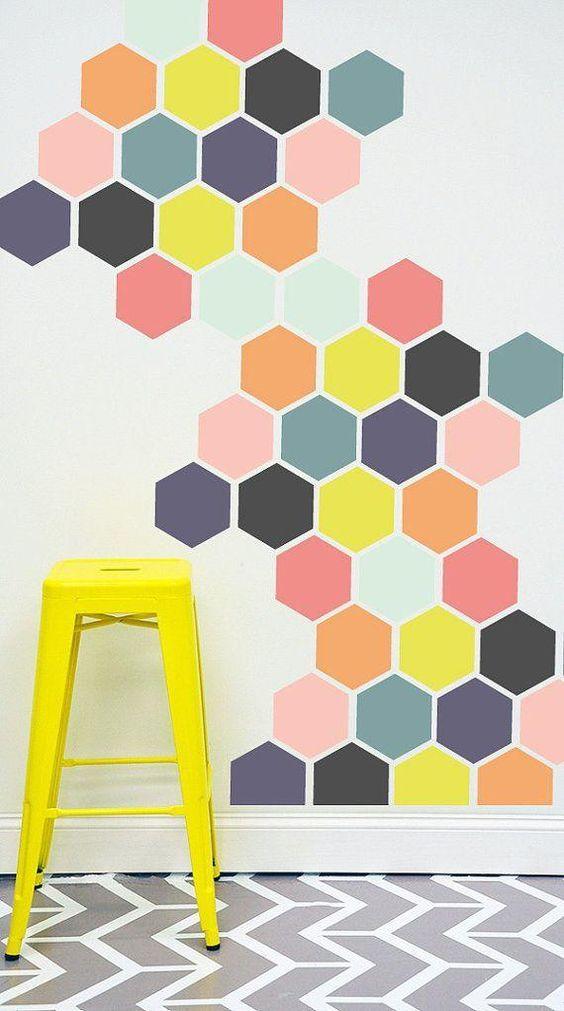 Stencil hexagons up a wall to create a lovely mural | Girlfriend is Better