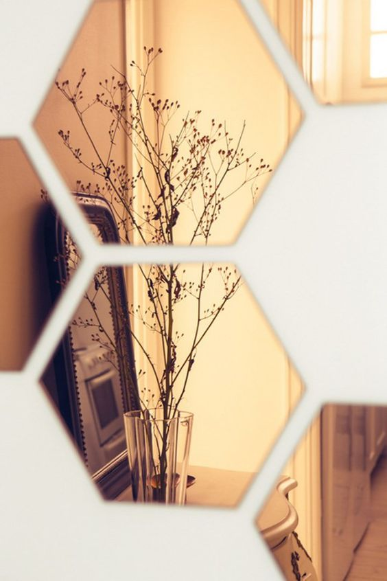 Rose colored hexagons reflect plants beautifully | Girlfriend is Better