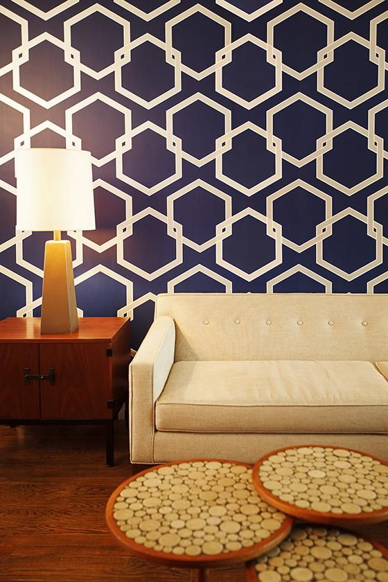 Wallpaper with bold hexagons add impact to a room | Girlfriend is Better