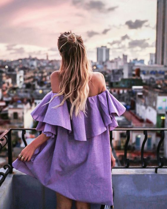 Purple sun dress off the shoulder with big ruffles | Spring fashion | Girlfriend is Better