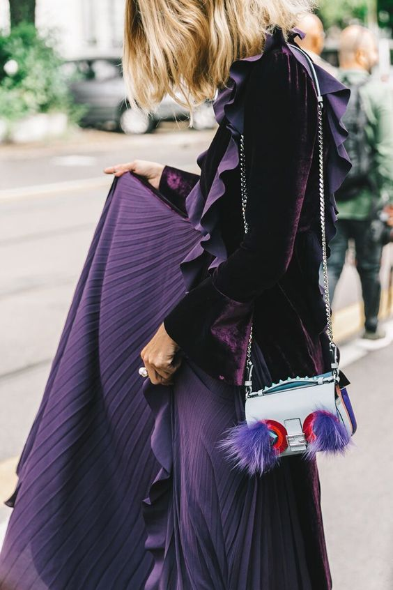 Purple velvet jacket and pleated skirt | Spring fashion | Girlfriend is Better