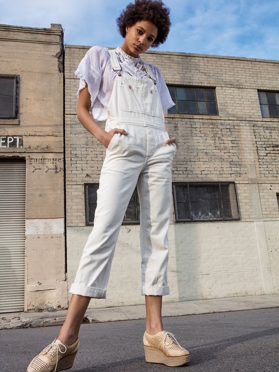 All white overalls and sheer blouse | Girlfriend is Better