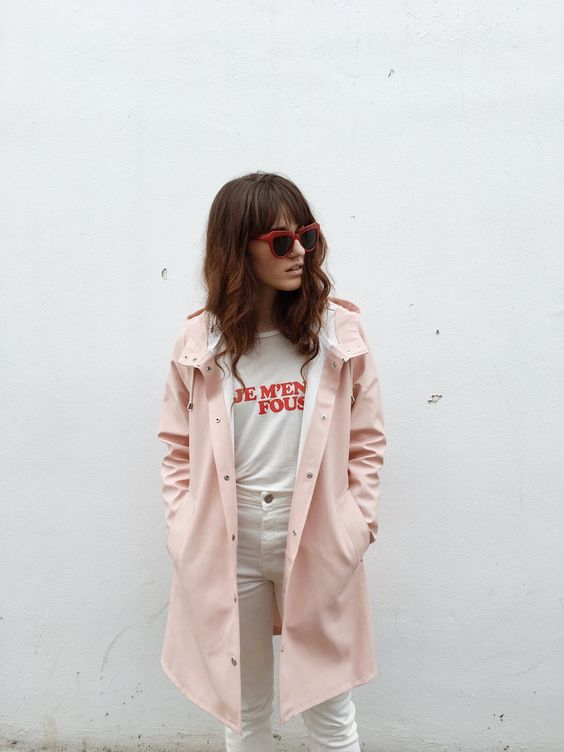 All white pants and graphic tee with pink coat | Girlfriend is Better