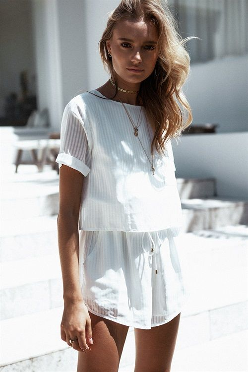 All white playsuit in opaque fabric | Girlfriend is Better