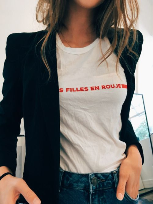 French sayings on graphic tees paired with blazers   Girlfriend is Better