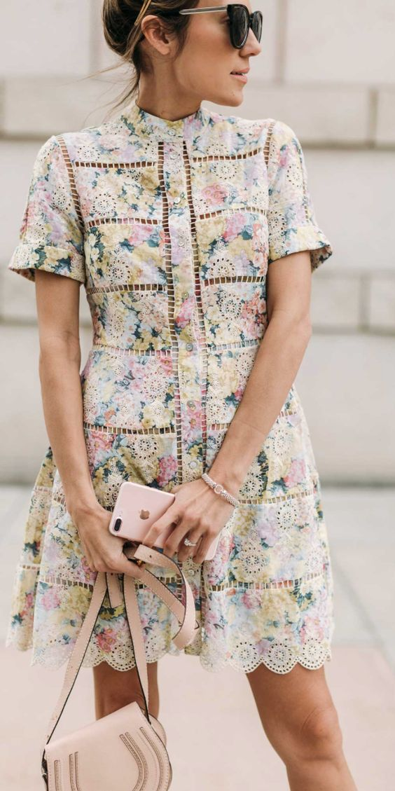 Spring dresses made pretty with eyelets + floral prints | Girlfriend is Better
