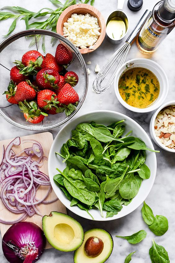 Ingredients for Strawberry Avocado Spinach Salad recipe   Girlfriend is Better