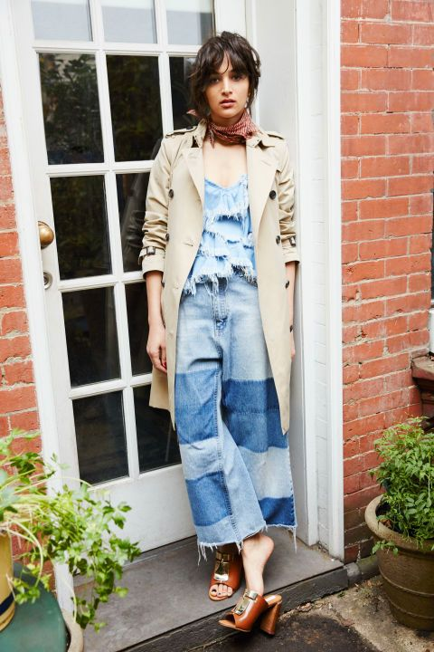 Patchwork denim culottes, distressed top, neck scarf | Girlfriend is Better