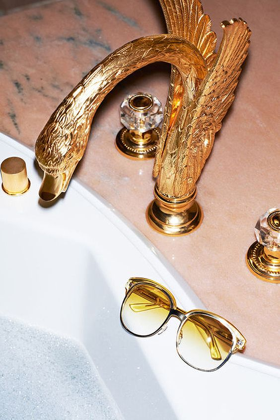 Gold swan faucet | Glam home decor | Girlfriend is Better