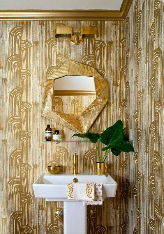 Gold powder room wallpaper and mirror | Girlfriend is Better