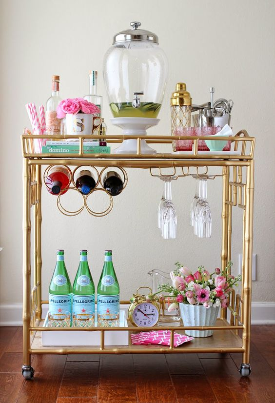 Gold bamboo bar cart | Girlfriend is Better
