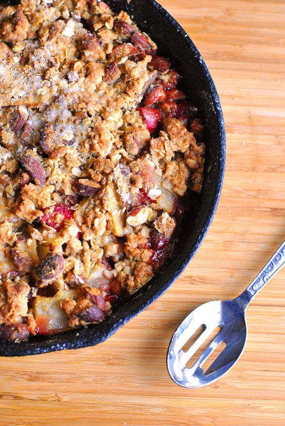 Pear, strawberry, and rhubarb crumble recipe | Girlfriend is Better