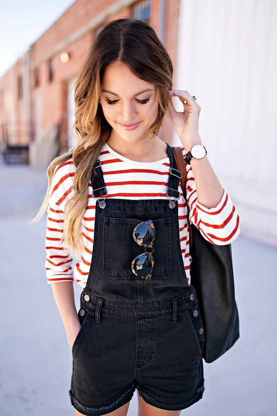 Stripes paired with overall shorts | Girlfriend is Better