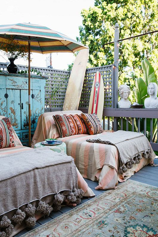 Bohemian patio surf shack hangout | Girlfriend is Better