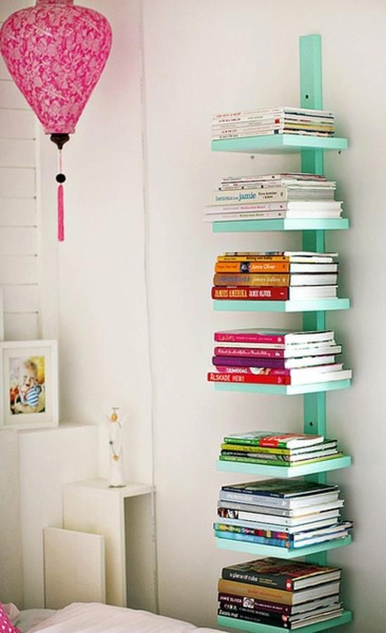 Narrow open shelving for books and magazines | Girlfriend is Better