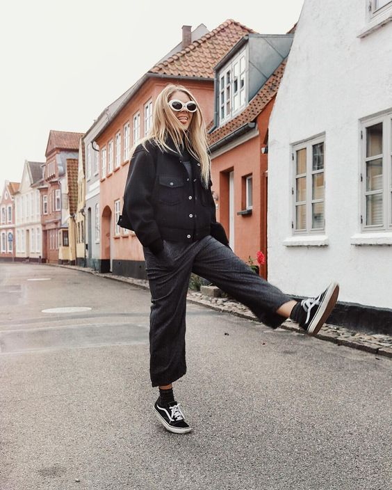 Skate style with black culottes and Vans shoes | Girlfriend is Better