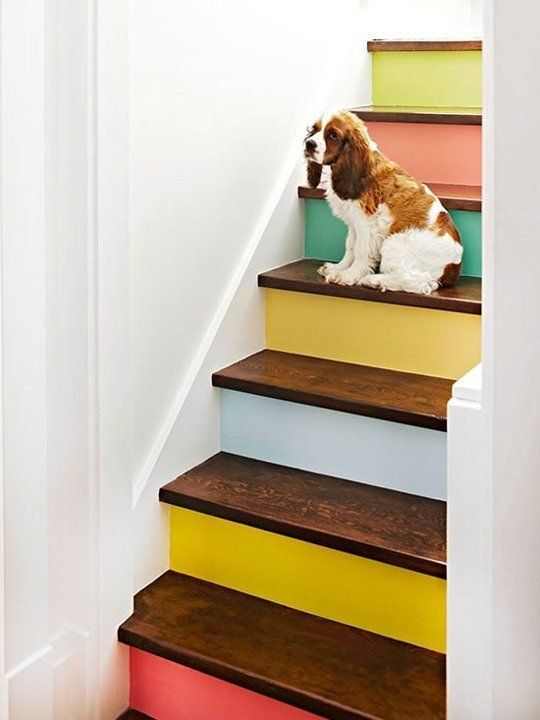 Stair Risers Painted In Rainbow Colors | Girlfriend Is Better