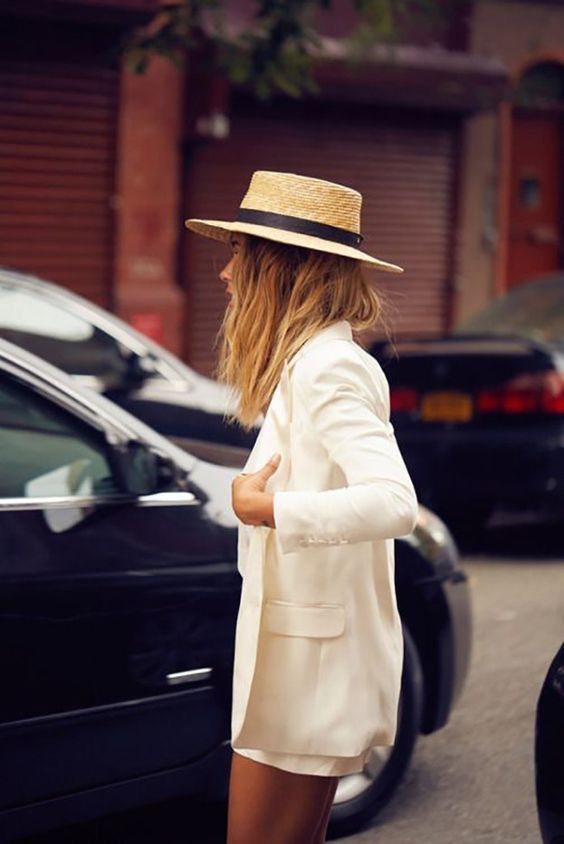 Straw hats boater style with summer suit | Girlfriend is Better