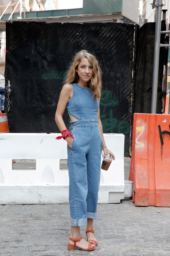 Denim jumpsuit with side cutouts and rolled hem | Girlfriend is Better