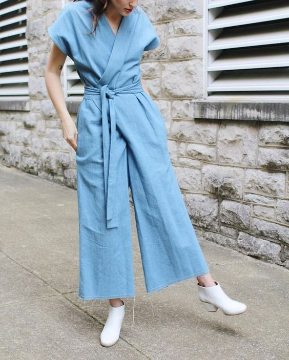 Denim jumpsuit in washed tencel | Girlfriend is Better