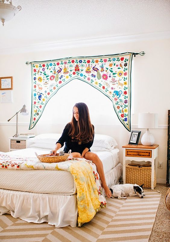 Valance floral curtains warm up a Bohemian bedroom | Girlfriend is Better