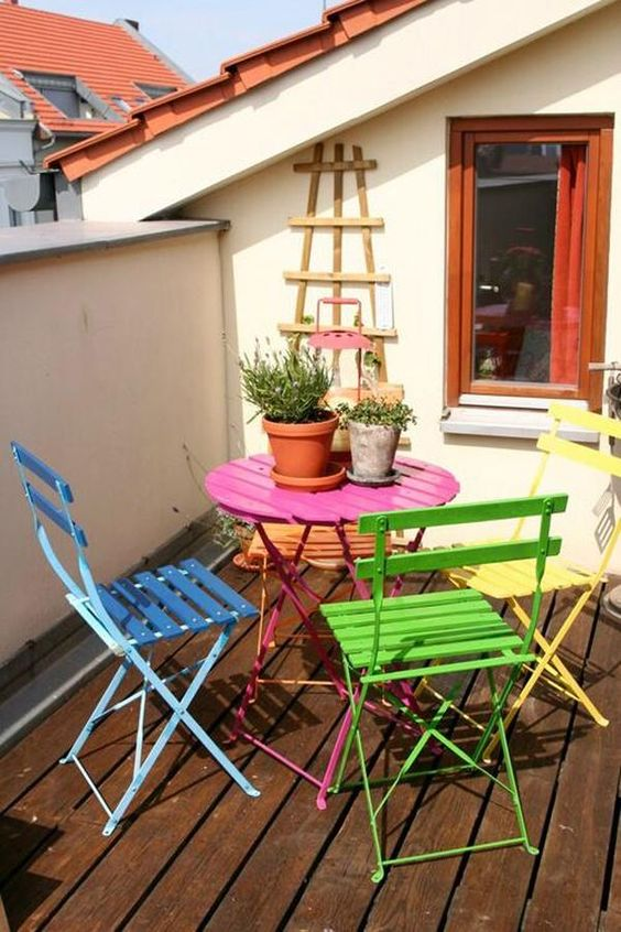 Rainbow dining chairs patio bistro table | Girlfriend is Better