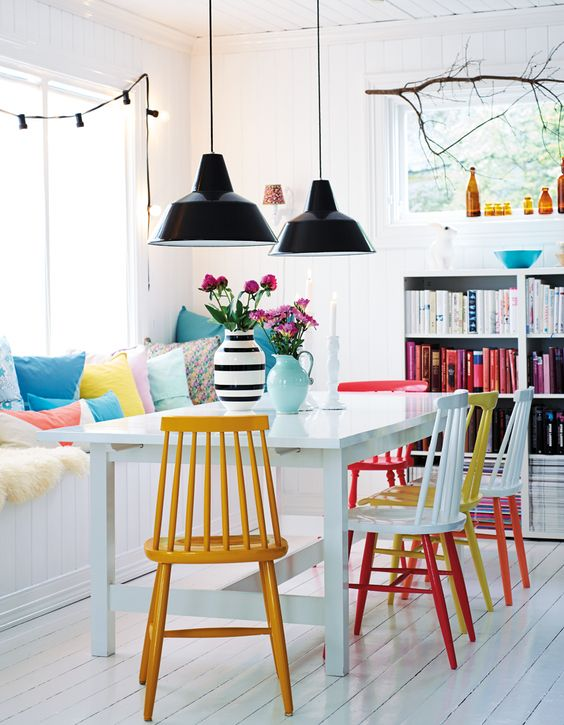 Mix-and-match paint colors of rainbow dining chairs | Girlfriend is Better